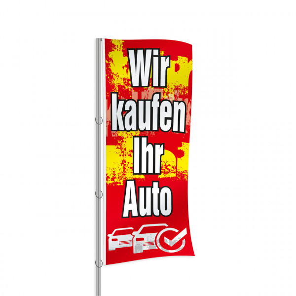 """Fahne """"Wir kaufen Ihr Auto"""", Design rot"""