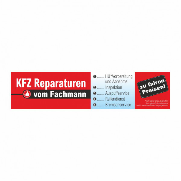 """Werbebanner """"KFZ Reparaturen vom Fachmann"""", 300 x 70 cm"""