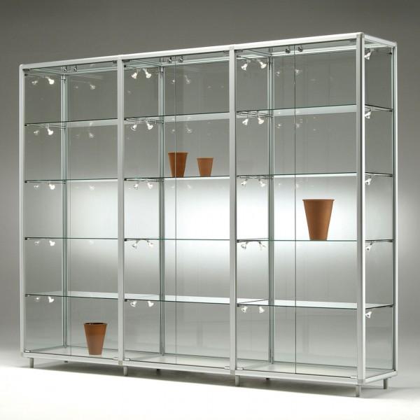 Glasvitrine, 3 x 2 Türen, 3 x 4 Fachböden