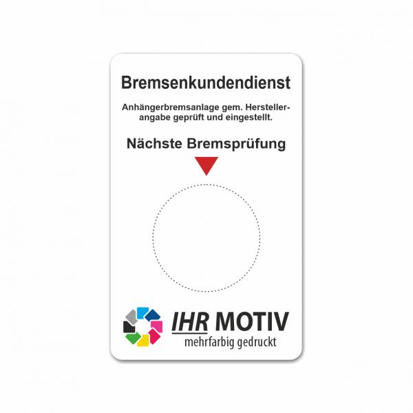 """Service-Aufkleber aus PVC-Folie, Größe: 50 x 80 mm, Motiv """"Bremsenkundendienst"""""""