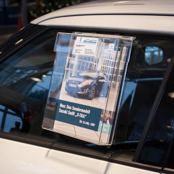 Info-Box mit Schutzklappe für den Außeneinsatz, für DIN A4 Formate, mit Visitenkartenfach