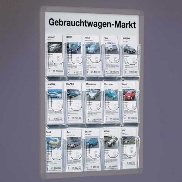 Plakatrahmen-Einsatz mit 15 Fächern für DIN lang Infoblätter für vorhandene DIN A1-Plakatrahmen
