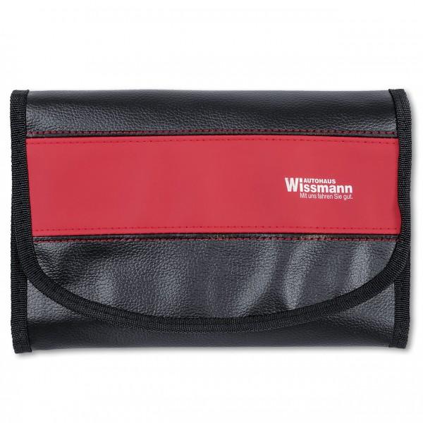 Wagenpapiertasche aus Kunstleder, mit rotem, blauem oder gelbem Designstreifen