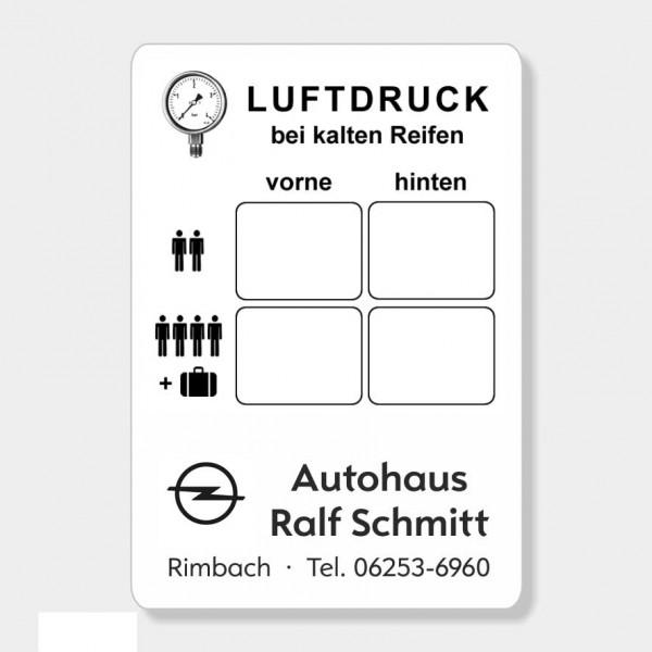 """Service-Aufkleber aus PVC-Folie, Größe: 45 x 65 mm, Motiv """"Luftdruck"""""""