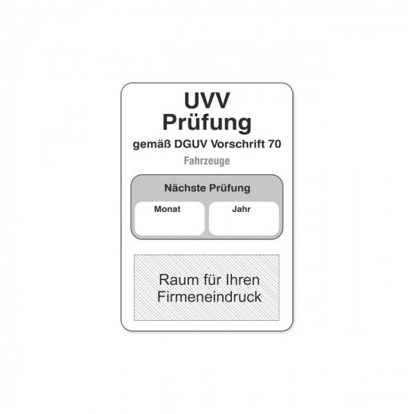 UVV Aufkleber aus PVC, mit Firmeneindruck, Größe 45 x 65 mm