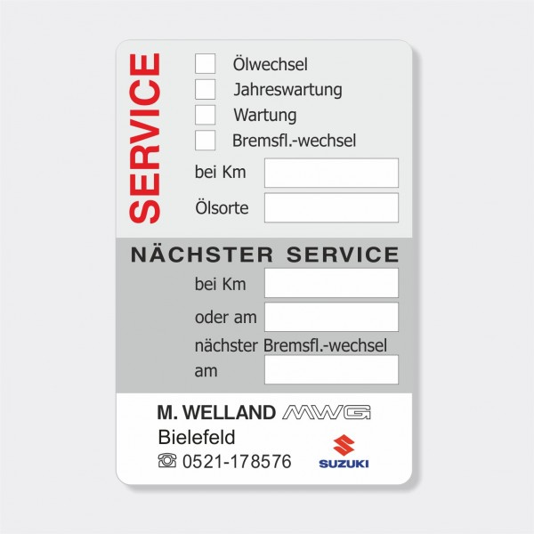 Service-Aufkleber aus PVC-Folie, Größe: 60 x 90 mm, Motiv 65