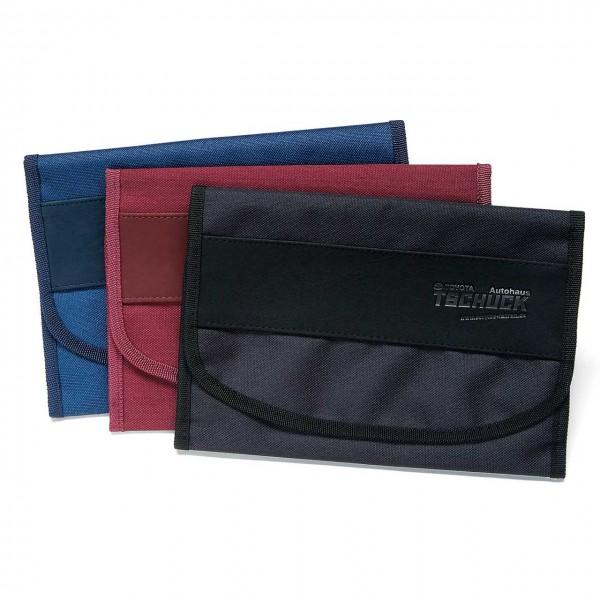 Wagenpapiertasche aus Microfaser/Nylon-Kombination, mit großem, unterteiltem Klarsichtfach