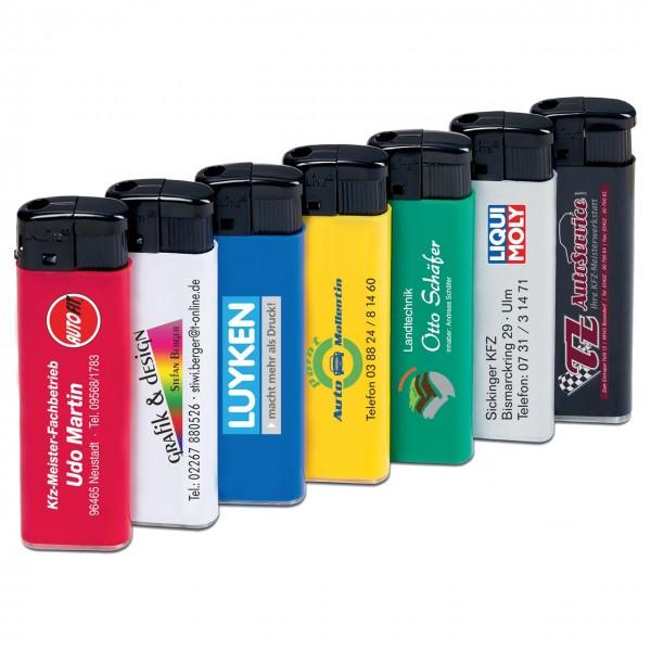 Piezo-Feuerzeug, nachfüllbar - mehrfarbiger Werbedruck