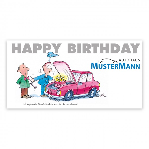 Geburtstags-Maxi-Postkarte, Motiv: Torte im Motorraum