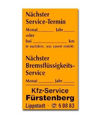 Service-Etiketten aus Papier, Leuchtfarbe, Größe: 34 x 65 mm